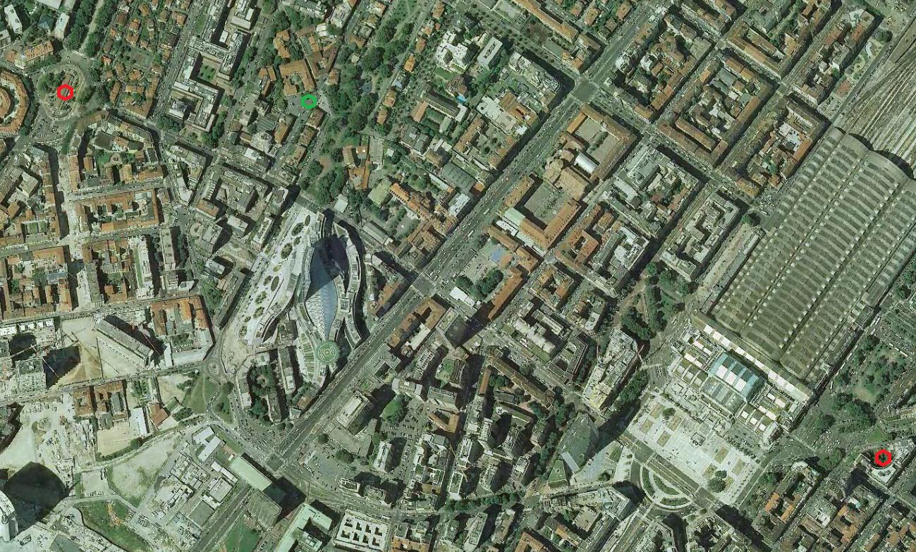 Mappa della zona con al centro le abbadesse (simbolo verde) e ai lati ciò che rimane della cascina Pozzobonelli (in rosso in basso a sx) eil cimitero della Mojazza (in alto a sx in rosso)
