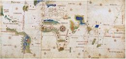 Planisfero di Cantino con il meridiano di Tordesillas