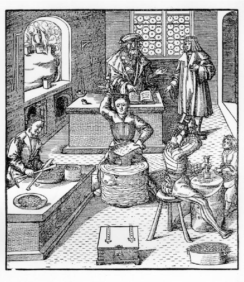 Le figure impegnate in una zecca (da un'antica stampa tedesca del XV sec.): al centro in alto il Maestro di Zecca.