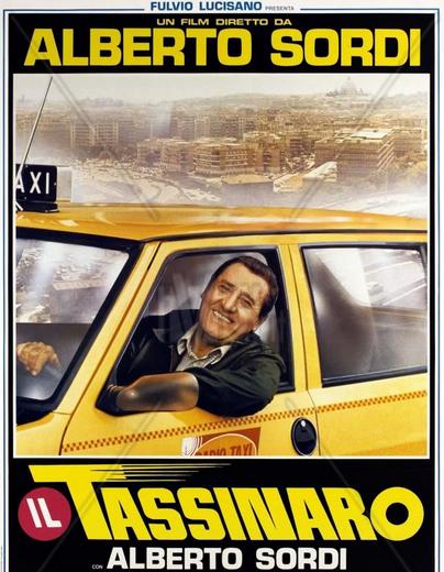 La locandina del celebre film sul tema taxi, interpretato da Alberto Sordi
