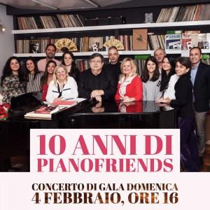 La locandina dell'evento per celebrare i 10 anni di Pianofriends