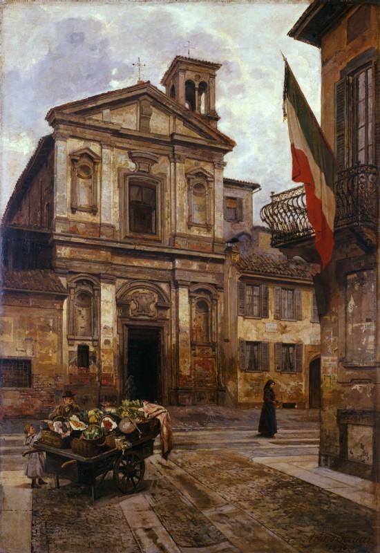 La chiesa di S. Stefano in Borgogna (scomparsa) in Via Cerva, immortalata da Arturo Ferrari nel 1893