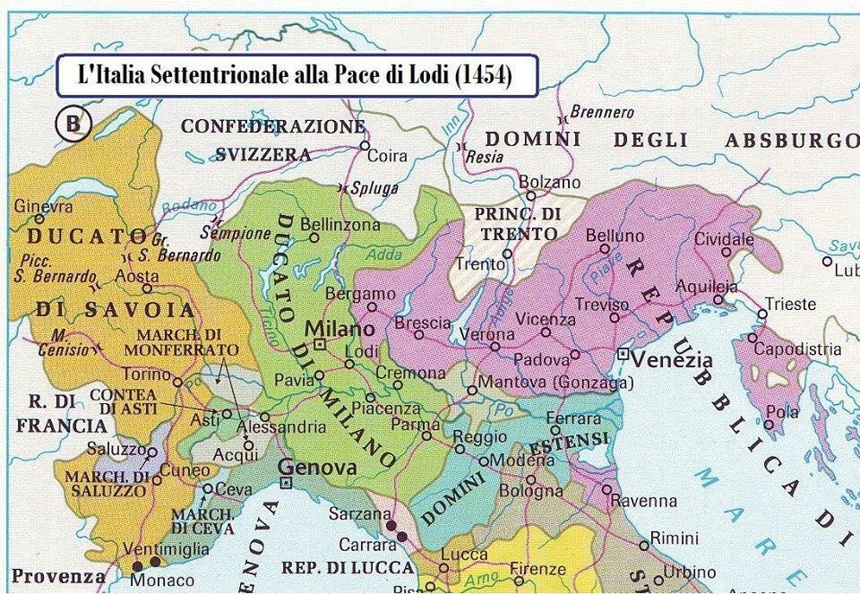 L'espansione territoriale degli Sforza alla fine del XV sec.