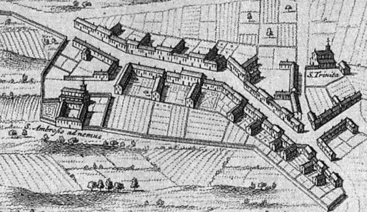 Nella pianta si nota la posizione isolata del complesso di S. Ambrogio ad Nemus, rispotto al Borgo degli Ortolani