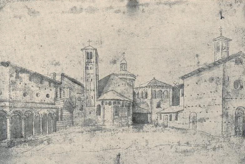 Anonimo olandese del XVI sec. Il disegno mostra la parte absidale della nuova chiesa e il Monastero nel fianco