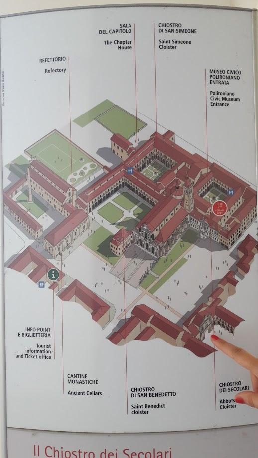 La planimetria dell'immenso complesso del Polirone,con indicato l'antico ingresso principale (foto di Robert Ribaudo)