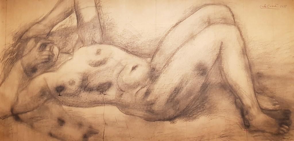 """""""Figura femminile sdraiata"""", 1935. Carboncino su carta da spolvero incollata su tela, 1525x1265 mm"""
