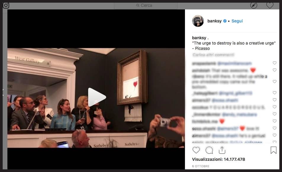 Immagine dal profilo Instragram di Banksy sulla distruzione dell'opera Girl with red balloon all'asta di Sotheby's