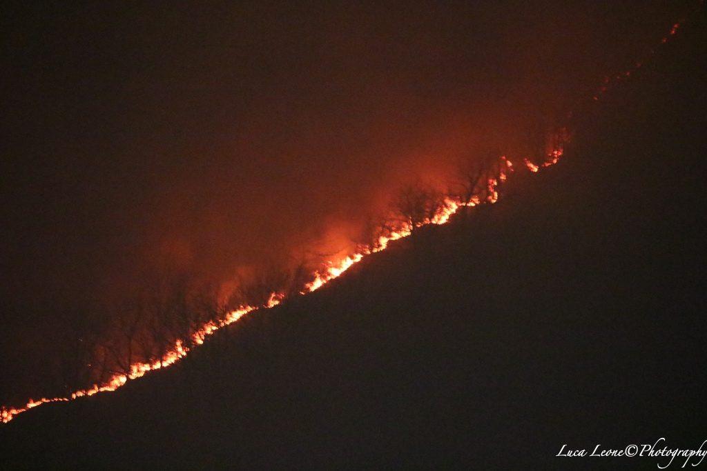 Parco del Campo dei Fiori: altra immagine impressionante dell'incendio