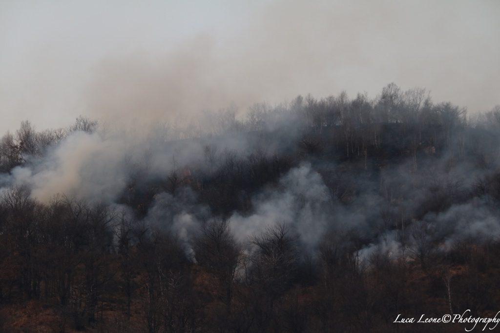 Parco Campo dei Fiori: immagine dell'incendio