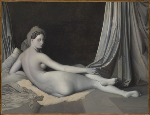 Immagine del dipinto olio su tela di Ingres intitolato Grande odalisca (versione in chiaroscuro)