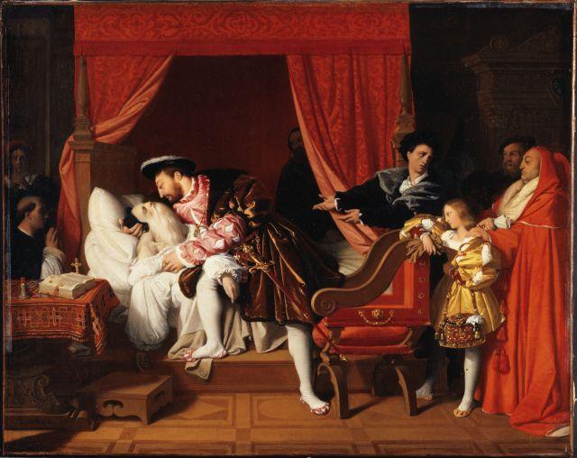 Dipinto olio su tela di Jean-Auguste-Dominique Ingres, La morte di Leonardo da Vinci