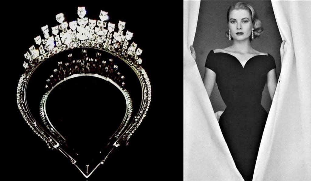 Tiara trasformabile in collana, 1976, indossata da Grace Kelly di Monaco in occasione del matrimonio della figlia Carolina con Philippe Junot nel 1978
