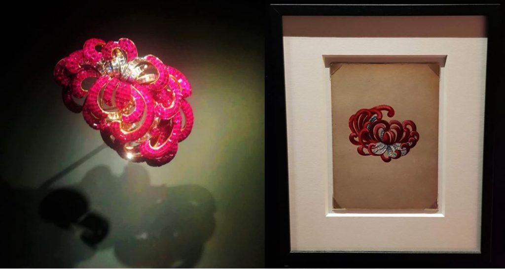 Van Cleef & Arples: Clip Crisantemo, 1937. Platino, oro giallo, Serti Mystérieux rubini, diamanti.